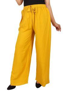 BILOCHIS Womens Stylish Rayon Plain Palazzo - Yellow (Pack of 1)