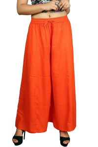 BILOCHI'S Women's Rayon Plain Palazzo - Orange