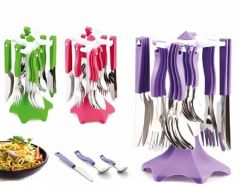 Stainless Steel Plastic Cutlery Spoon Set (Pack of 24 Pcs)