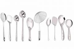 Stainless Steel Cooking and Serving Spoons|Spatula , Whisk , Lemon Squeezer with Opener , Potato Masher , Lifter (Pack of 10 Pair)