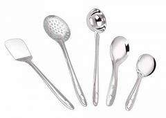 Stainless Steel Cooking and Serving Spoons|Spatula , Whisk , Lemon Squeezer with Opener (Pack of 5)