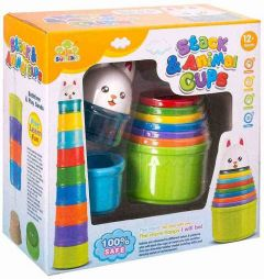 Stacking Animals Cups Game With Cute Rabbit Topper Made From Quality Material (Pack Of 1 Set)
