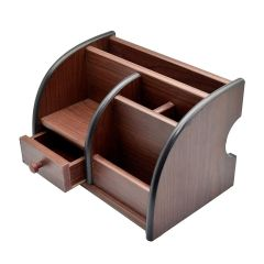 Cyalerva Handcarved Multi-Purpose Wooden Pen Stand, Stationary Stand With Drawer For Office Use