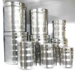 Steel dibba 9 pcs Set 500 gr to 5 kg capacity Size Set Material - Stainless Steel (Pack of 9)