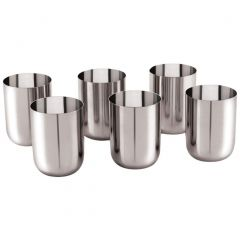 Stainless Steel Glass Classy Design for Tea and coffee (Pack of 6)