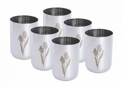 Stainless Steel Floral Print Flower Design Glass for Water (Pack of 6)