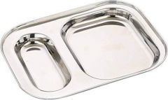 2 in1 Rectangle Compartment Divided Stainless Steel Plate (Pack of 4)