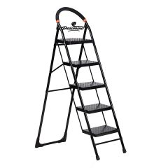 PALOMINO Heavy Duty Folding Stepladders with Wide 5 Steps Ladder Sidhi (Black)