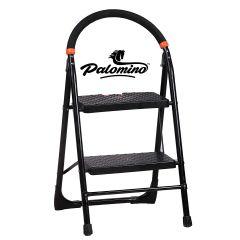 PALOMINO Heavy Duty Folding Stepladders with Wide 2 Steps Ladder Sidhi (Black) (2.1 Feet)