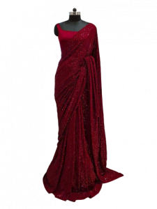 Super Demanding full sequence work saree with blouse Women Special Bridal Sari Sequin Embroidered Sari Indian Ethnic Designer Sari Dress (Pack of 1)