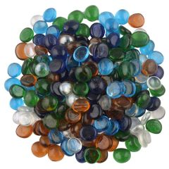 Nain Transparent Half Round Aquarium Glass Pebbles For Garden and Home Decor (Multi-Color)
