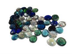 Nain Transparent Half Round Aquarium Glass Pebbles For Outdoor and Home Decor (Multi-Color)