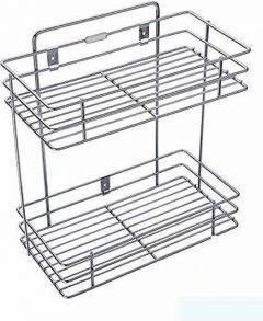 Multipurpose Storage Shelf Double Layer Stainless Steel Rack Storage Shelf for Kitchen and Bathroom (Pack of 1)