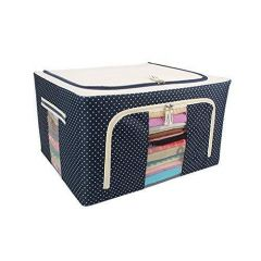 Homeoculture Foldable Steel Tip Storage Living Boxes for Clothes, Saree Cover and Bathroom Cosmetic Organizer (44 L)(Dotted Blue)