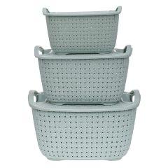 CYALERVA Storage Organizer Basket With Lid For Kitchen, Fruit & Vegetable, Small Size Flexible Storage Baskets (3 PCS)