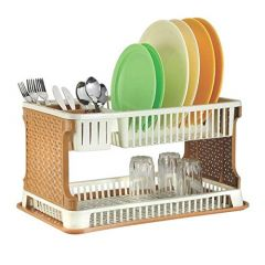 Aristo Toriox 2 Layer Kitchen Dish Organizer Storage Rack, Cutlery Utensil, Fruits and Vegetable Drying Drain and Storage Stand with Water Storing Tray (Pack of 1)