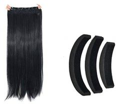Homeoculture Straight Synthetic 24 inch Hair ExtensionWith Hair Volume Bumpits