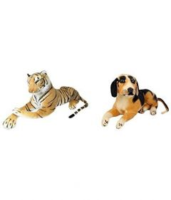 Tiger And Black Dog Animal Figure Stuff Toys Tedy Bear Soft Toys Combo (Pack Of 2)