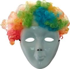 PTCMART Stylish White Mask With Multicolor Wig & Ready for Holi Party (Pack of 2)
