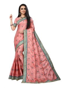 Bagrecha Creation Vichitra Fabric Less Embroidery Work Saree with Bangalore Silk Fabric Blouse (Saree: 5.5 MTR) (Blouse: 0.80 MTR)