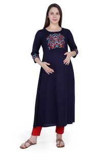 Straight Rayon Fabric Stitched Metrnity|Feeding Kurta for Womens (Color-Oxford Blue)
