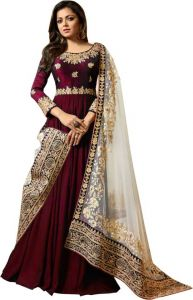 Faux Georgette Embroidered, Self Design Salwar Suit For Women's (Semi-Stitched)
