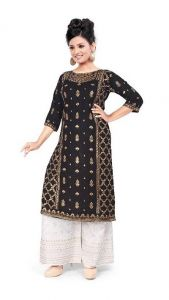 Womens Rayon Fabric, Stitched Straight3|4 Sleeves Kurta with Printed Palazzo (Color:-Black)