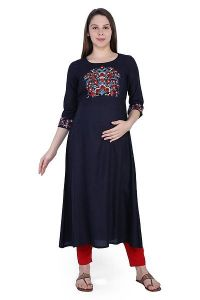 Straight Rayon Fabric Stitched Metrnity|Feeding Kurta for Womens (Color-Black)