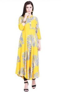Straight Rayon Fabric Stitched Kurta for Womens (Color-yellow)