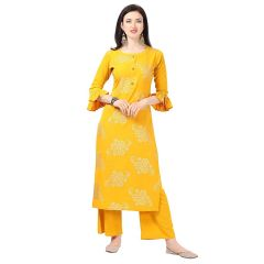 Daisy Crepe Yellow Printed Ethnic Wear Kurti with Plazzo for Womens (Color:-Yellow)