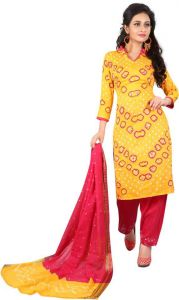 Cotton Wool Blend Self Design Printed Salwar Suit For Women's (Unstitched)