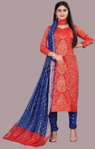 Stylish and Fashionable Cotton Banarasi Printed Salwar Suit For Women (Unstitched)