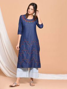 Straight Denim Fabric Embroidery Pattern Stitched Kurti For Womens (Color: Blue)