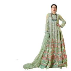 Lam Women Butter Fly net Unstitched Bridal Gown Green Free Size
