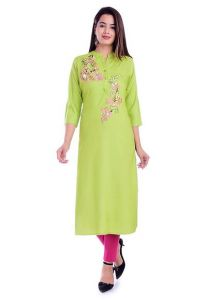 Straight Embroidered Stitched Rayon Fabric Kurti for Womens (Color-Green)
