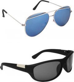 Comfortable Polarized Aviator, Sports Sunglasses For Men's & Women's (Blue & Black) (Pack of 2)