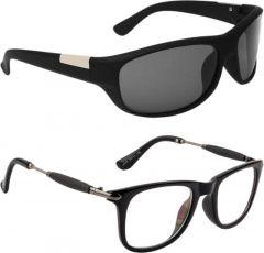 Comfortable Polarized Wayfarer, Sports Sunglasses For Men's & Women's (Black) (Pack of 2)