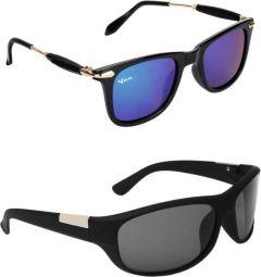 Comfortable Polarized Wayfarer, Sports Sunglasses For Men's & Women's (Blue & Black) (Pack of 2)