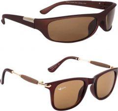 Polarized Wayfarer, Sports Sunglasses For Men's & Women's (Brown) (Pack of 2)