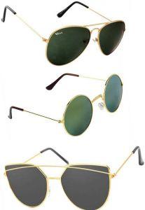 Polarized Cat-eye, Round, Aviator Sunglasses For Men's & Women's (Multi-Color) (Pack of 3)