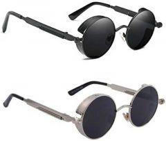 Stylish and Comfortable UV Protection Fiber Sunglasses For Men's & Women's (Black) (Pack of 2)