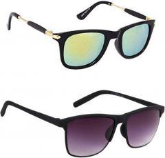 UV Protection, Wayfarer Sunglasses For Men's & Women's (Multi-Color) (Pack of 2)