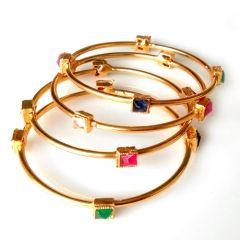 ManshiCreation Stylish Brass Material Bangles Set for Women & Girls (Pack of 1)