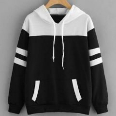Fleece Fabric Self Pattern Pullover Sweatshirt with white Details for Womens (Black)