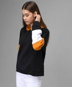Fleece Fabric Pullover Self Pattern Sweatshirt with white Details for Womens (Multicolor)