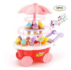 Kitchen Cart, Battery Operated With Music & Led Lights Ice Cream Trolley Shop Set For Kids (Pack Of 1 Set Of 35Pc)