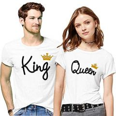 Cotton Printed Half Sleeve Couple T-Shirt For Men's & Women's (White) (Pack of 1)