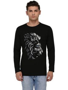 Men's Fashionable and Stylish Regular Fit Round Neck Printed T-Shirt (Black) (Pack of 1)