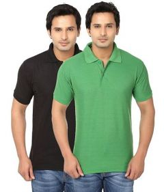 Men's Fashionable and Stylish Regular Fit Polo T-Shirt (Black & Green) (Pack of 2)