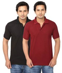 Men's Fashionable and Stylish Regular Fit Polo T-Shirt (Black & Maroon) (Pack of 2)